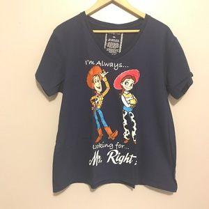 Disney Store Toy Story V-Neck Navy Blue T-Shirt